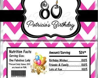 80th Birthday Chocolate Bar Wrappers - Birthday Candy Bar Wrap - Custom Wrappers - Candy Wrappers Party Favors - 40th 50th 60th Milestones