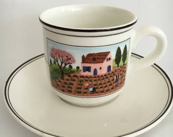 Villeroy & Boch Design Naif Farmers  | Villeroy and Boch | Villeroy Flat Cup and Saucer Set|  Gerard LaPlau| Farmers Cup and Saucer Set