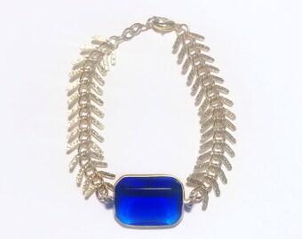 Marine: Chain and Blue, Vintage, Acrylic-Bead Bracelet