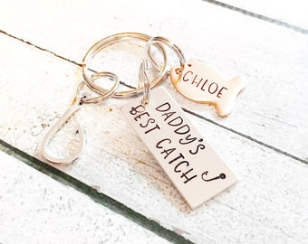 Gift for Dad - Fish Keychain - Daddy's best catch - Hand stamped key chain - Gift for men - Gift for Grandfather - Daddy's greatest  catch