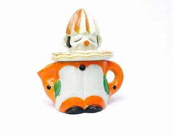 """Antique Moriyama Mori-Machi 1920's Orange """"Clown Reamer"""" Juicer, Japan"""
