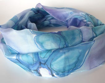 Women scarves - Hand painted silk scarves - Summer scarves - Silk scarves - Summer accessoires - Beach scarves - Blue scarves