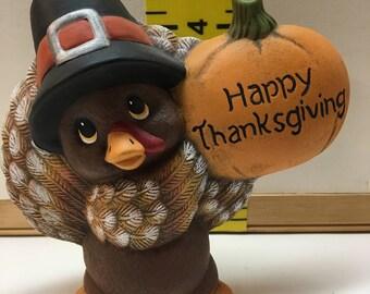 Happy Thanksgiving Turkey with Pumpkin