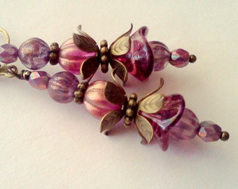 Fuchsia and Orchid, Fuchsia Dangles, Floral Earrings, Handmade Flower Dangles, Magenta and Lilac,  Lavender and PInk Earrings, Vintage, Boho