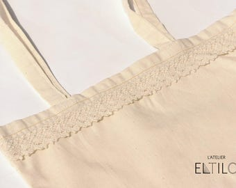 Natural cotton bag with lace / / tote cotton bag / / hand bag Tote / / canvas bag