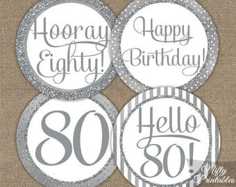 80th Birthday Cupcake Toppers - Silver 80th Birthday Toppers - 80 Year Old Birthday Party Decorations - 80th Birthday Favor Tags SLV