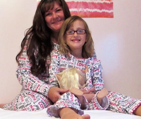 Mommy and me pajamas,womens pajamas,girls pajamas,mommy and me knit pajamas,mommy and me and doll pajamas,yoga pajamas,warm pajamas,