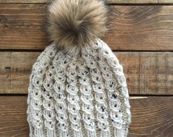 Knit Pom Pom Hat > Knit Kid's Hat > Knit Baby Hat > Fur Pom Pom Hat > Cable Knit Beanie > Toddler Hat > Photo Prop Hat > Adult Knit Hat