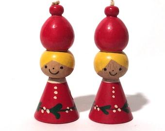 Vintage 1960s MCM Pair of Wooden Angel Ornaments, Made in Denmark, Danish Modern Christmas