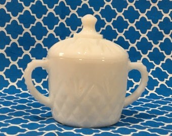Anchor Hocking White Milk Glass Sugar Bowl with Lid ~ Pineapple Fan Pattern ~ Early American Décor ~ Circa 1960s