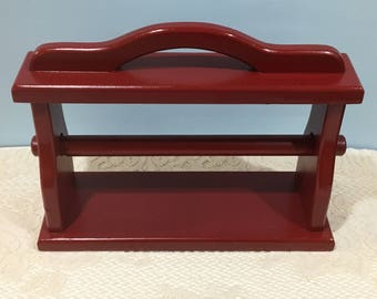 Paper Towel Holder ~ Red ~ Counter Top ~ Shabby Chic, Country Cottage or Farmhouse Kitchen ~ Upcycled Solid Wood ~Hand Painted