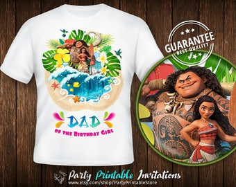 Moana Dad Shirt, Birthday Girl Daddy Shirt, Moana Birthday Shirt Iron On, Moana Birthday Shirt Family, Moana Birthday Shirt Printable, Moana
