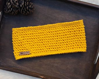 Crochet Headband / Crochet Yellow Headband / Women's Headband / Men's Headband / Crochet Ear Warmer / Fall Headband  Winter Headband