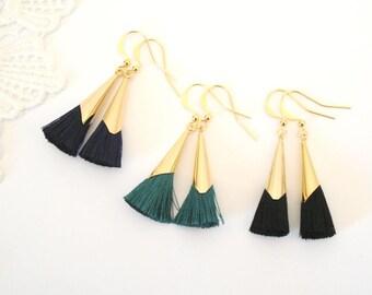 Dainty Tassel Earrings, Elegant Gold Earrings, Emerald Earrings, Modern Glamour Earrings, Black Tassel Earrings