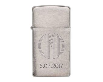 Personalized Zippo Lighter, Zippo Slim Brushed Chrome Lighter, Groomsmen Gifts, Wedding Gifts, Birthday Gift, Anniversary Gift - Z1600