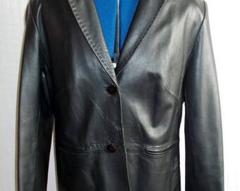 Milan black leather 3/4 coat.finest leather,2button front, lined.size 10/12