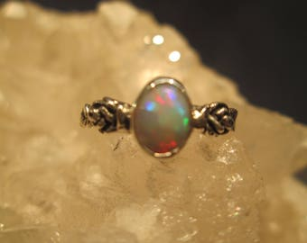 Fire Opal Ring ~Sterling Silver~ Hand Cast Tiny Roses & Leaves Natural Stone