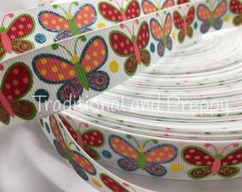 "7/8"" spring Glitter Butterflies Butterfly grosgrain ribbon sold by the yard"