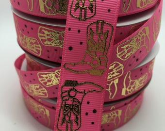 """3 YARDS 7/8"""" USA DESIGNER Gold Cowgirl Cowboy Equestrian Boots on Hot Pink Western Bow Grosgrain"""