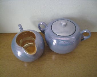 Vintage blue lusterware creamer and sugar set. 3 piece set. Peach inside creamer. Chikaramanchi 1930s tea set. Collectible vintage china.