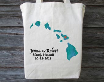 Hawaii Wedding Tote Bag, Destination Wedding Tote, Wedding Welcome Bag, Hawaii Wedding, Wedding Gift, Hawaii Tote, Beach Tote, Maui Wedding