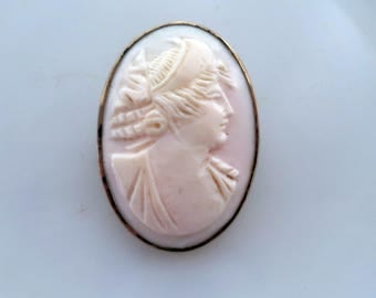 Antique Signed Sterling Carved Shell Cameo Brooch Pin C Catch