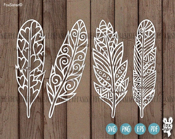 Boho Feathers Svg Cut File Templates Tribal Feather