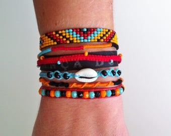 Brazilian Bahia Ribbon Cuff Bracelet, hand-made in France.