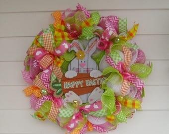 SALE!  Easter Wreath, Easter Door Hanger, Spring Door Hanger, Bunny Door Hanger, Easter Bunny Wreath, Spring Wreath, Spring Décor