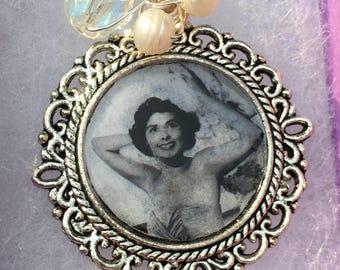 Sirens -Handmade Pendant- Freshwater Pearls, Silver Vintage Style Framed Photograph-image Lena Horne