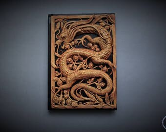 imitation wooden openwork carving composition with dragon fantasy notebook cover
