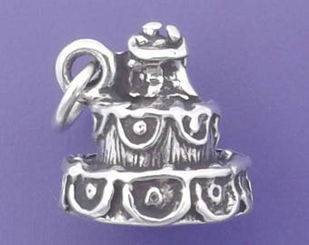 WEDDING CAKE Charm .925 Sterling Silver, Bride and Groom, MARRIAGE Pendant - lp2423
