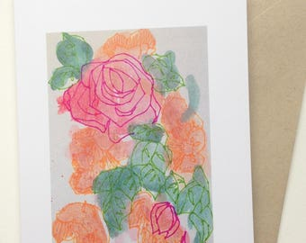 Greeting Card - Watercolor Rose #10 - Print - Original - Maine Art - Stylized - Blank Card - Thinking of You Card - Love Card