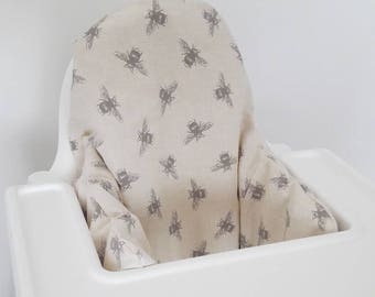 Antilop IKEA highchair cushion cover - cushion cover only - neutral bees shabby chic high chair cushion cover - gender neutral MADE to ORDER