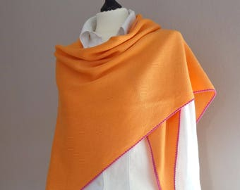 large orange colored scarf with colored crochet Merino Wool