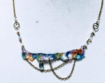 Faux Glass Statement Necklace - Liquid Metal