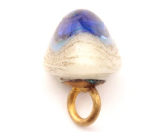 11mm Antique Victorian 1900's Czech foil under blue eye white marble lampwork triangle dimi glass button 2404-116