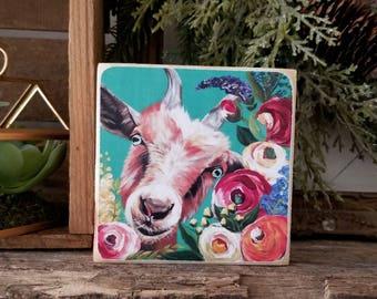 Floral goat - mini PRINT of original painting on WOOD - farmhouse decor