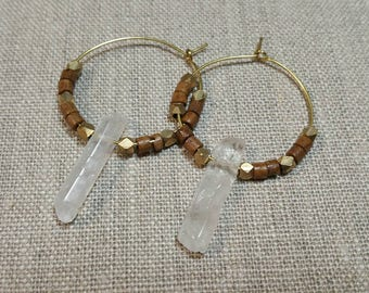 Light Brown Ox Bone and Quartz Brass Hoop Earrings / Tribal Earrings / Boho Chic / Minimalist / Geometric - EQH01TN
