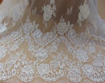 rose lace fabric, Chantilly Lace,ivory eyelash lace-1.45m*1.45m