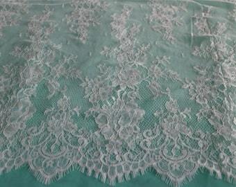 "Soft lace fabric ,59"" eyelash rose fabric,Chantilly Eyelash white Lace Fabric by yard for Wedding Gowns, Bridal Veils, Mantilla, Costumes"