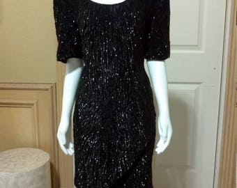 Laurence Kazar Black Sequin Dress /Sequin Dress/ Art Deco Dress/ Vintage sequin dress/cocktail dress, beaded dress, Shift evening dress M/L