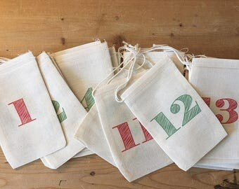Advent Numbers Calendar Christmas Bags - Colorful Holiday Bag Set - Countdown to Christmas - 25 Vintage 4x6 3x5