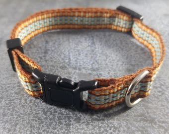 Cat Collar - Handwoven; Adjustable; Breakaway safety buckle; Autumn colors; Optional tag