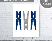 Modern Laundry Wall Art Printable. Clothes Peg Wall Art. Navy Gray Laundry Art. Gray Laundry Decor. Navy Peg. Laundry Decor. Laundry Print