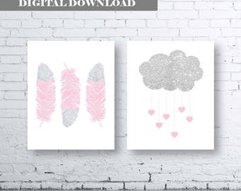 Feather Cloud Heart Pink Silver Glitter Bedroom Nursery Wall Art Print - Digital Download - Set Of Two (2). Glitter Wall Art. Baby Pink Art
