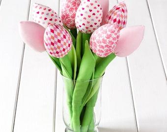 Light pink tulips, fabric flowers bouquet for children. Birthday gift, fabric tulip, children room.