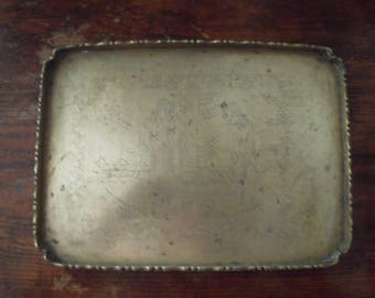 chinese solid brass etched old serving tea tray 1800s     =