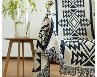 Mexican Blanket, BOHO Chair Cover, Wall Hanging, Hippie Bed Cover, Peruvian Wall Tapestry, Aztec Bedspread, Ethnic Sofa Blanket