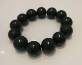 "Jadeite black bead bracelet grade A ""翡翠"""